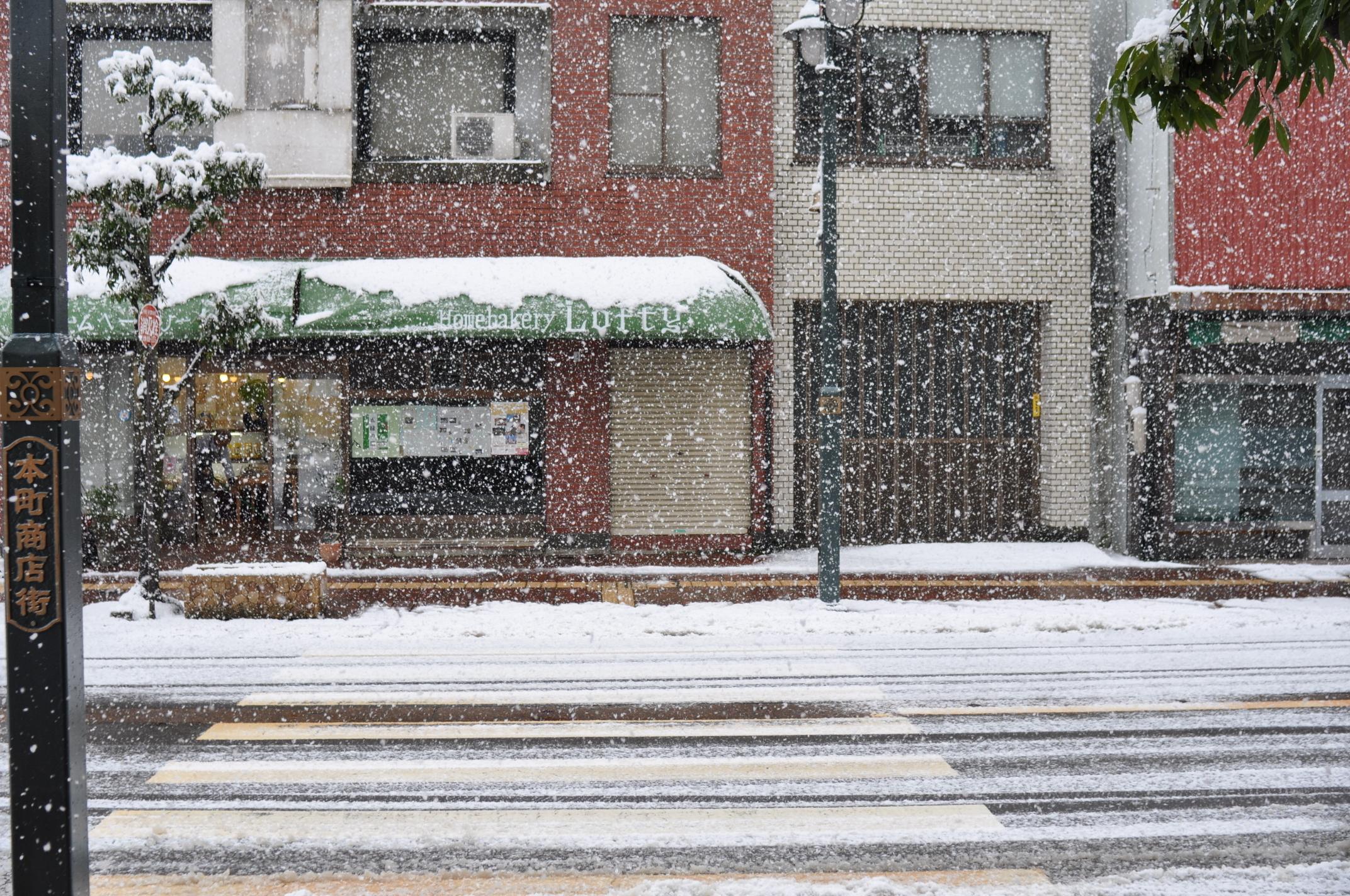 立春雪表通り